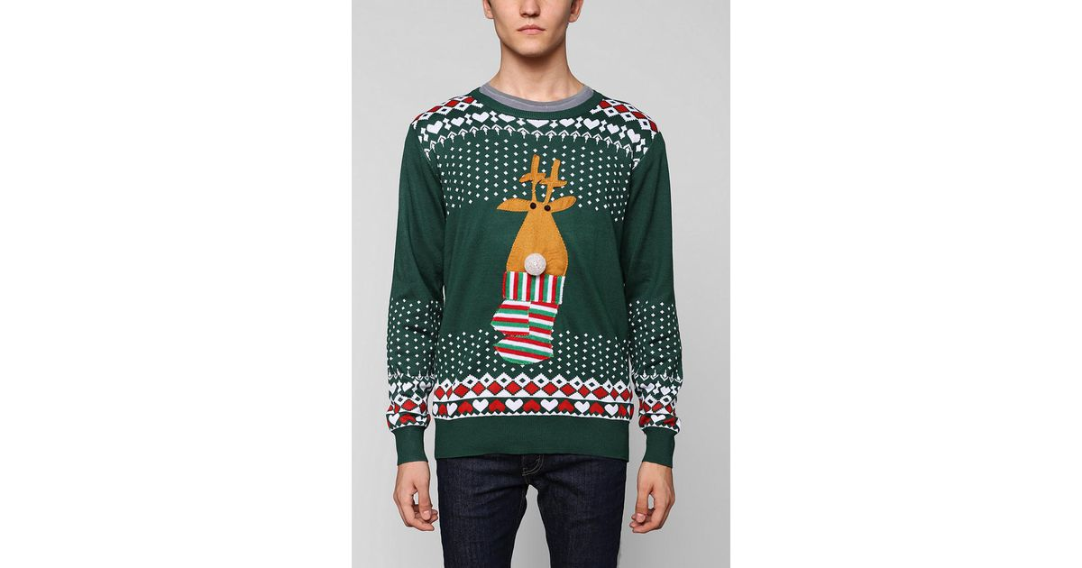 ceb443f2d43 Lyst - Urban Outfitters Light Up Reindeer Sweater in Green for Men