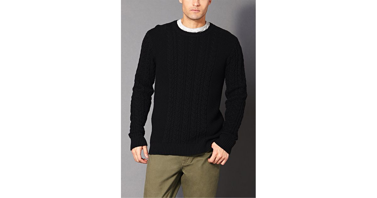 Lyst Forever 21 Chunky Cable Knit Sweater In Black For Men