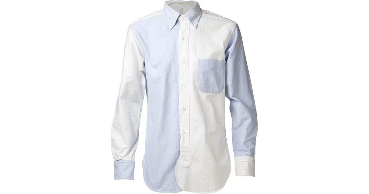Black fleece by brooks brothers oxford fun shirt in blue for Brooks brothers tall shirts
