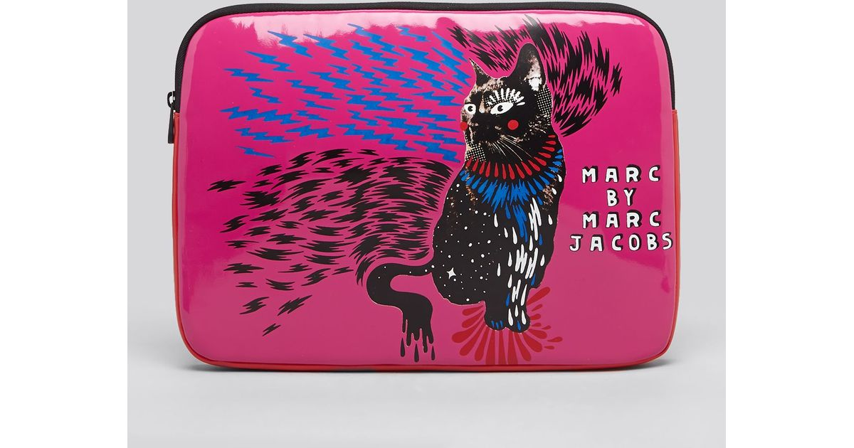Marc By Marc Jacobs Pink Laptop Case Rue Cat Coated Neoprene 13