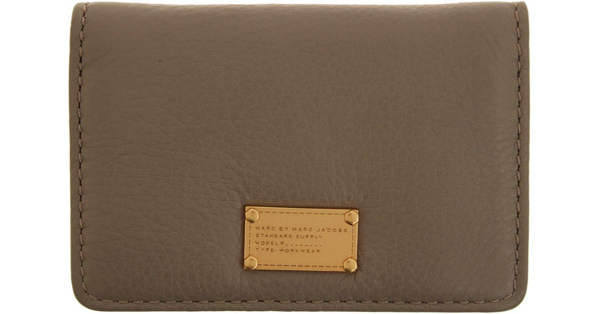 Marc by marc jacobs taupe classic q business card holder in natural marc by marc jacobs taupe classic q business card holder in natural lyst colourmoves