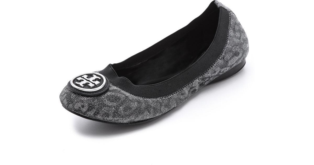 f1ab2cf05194 Lyst - Tory Burch Caroline 2 Leopard Print Flats in Gray