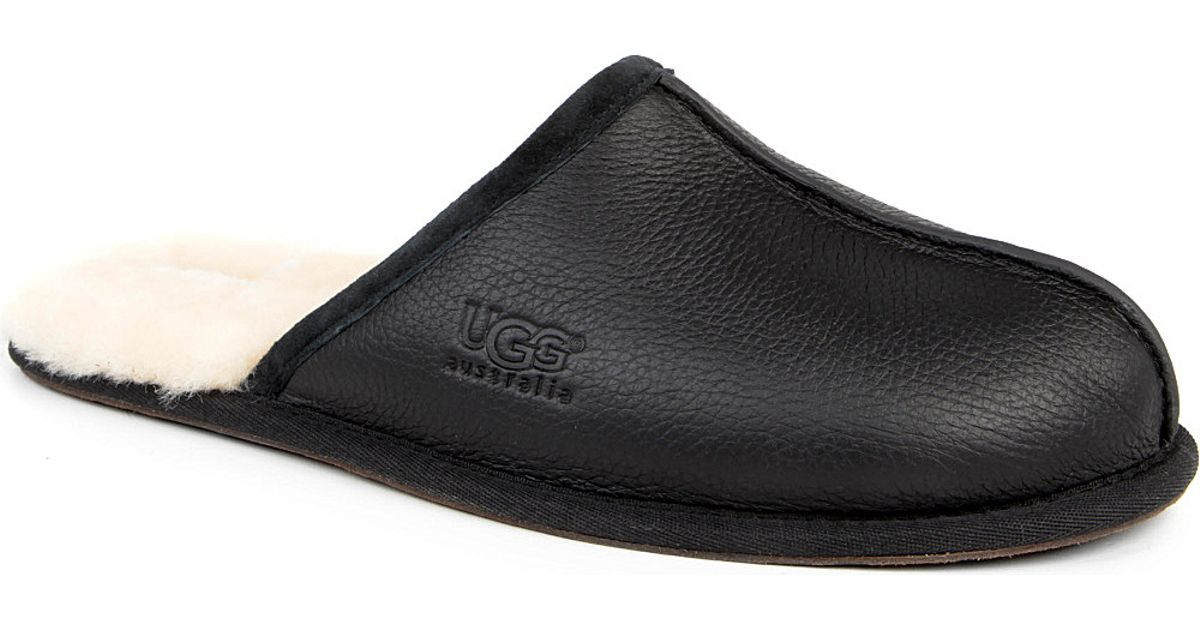 9084aadcd60 UGG Black Scuff Leather Slippers for men