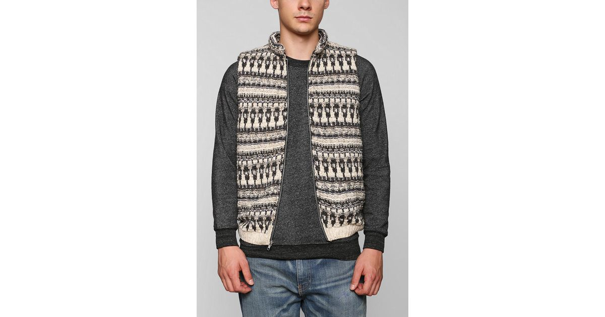 Urban outfitters Urban Renewal Patterned Sweater Vest in Natural ...