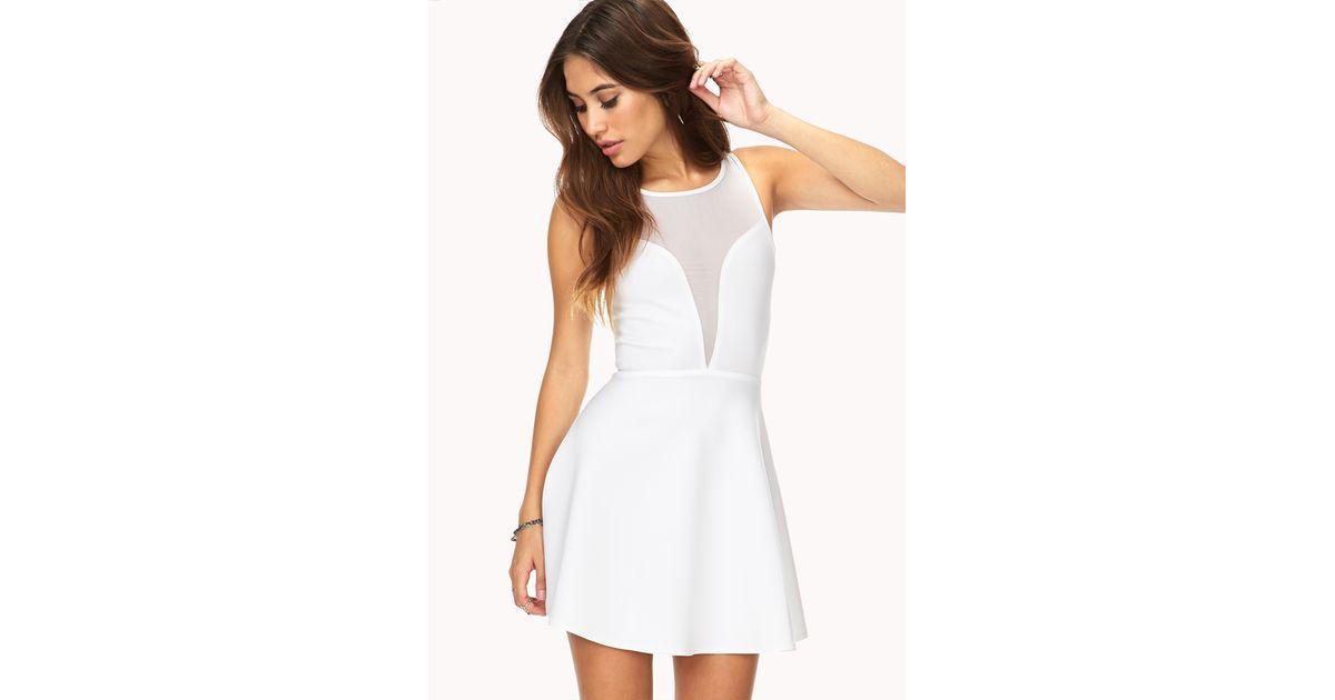 91a8f6d84c Lyst - Forever 21 Mesh Darling Skater Dress in White
