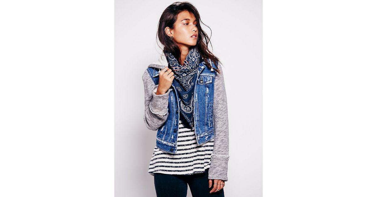 Denim Jacket Knitting Pattern : Free people Knit Hooded Denim Jacket in Blue Lyst