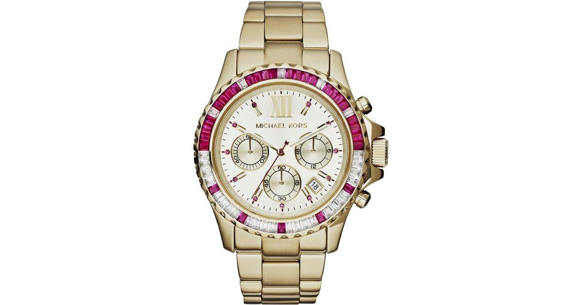 a27abe9a0d86 Lyst - Michael Kors Midsize Golden Stainless Steel Everest Chronograph  Glitz Watch in Metallic