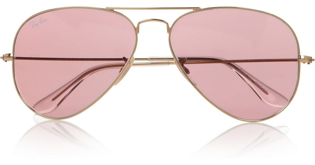 5bb3a8bc77a2a Ray-Ban Aviator Mirrored Metal Sunglasses in Pink - Lyst
