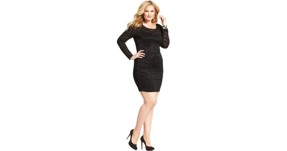 Soprano Black Plus Size Longsleeve Illusion Bodycon Dress