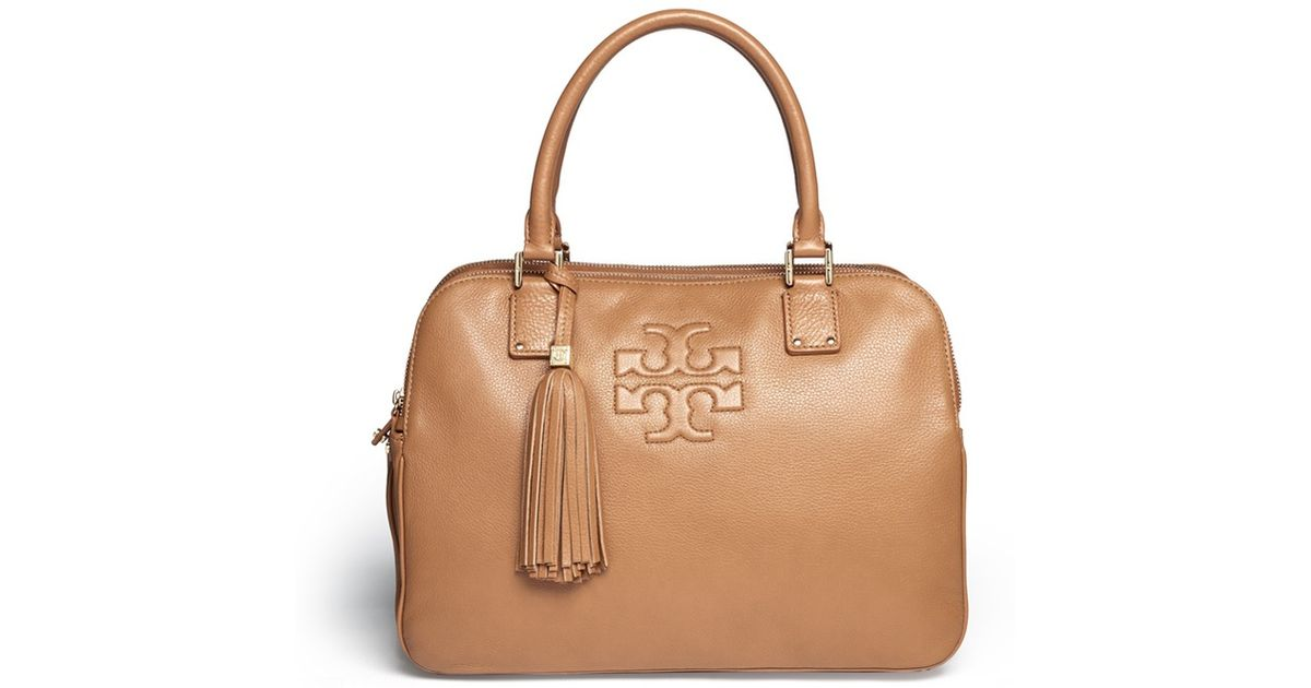 Lyst - Tory Burch  thea  Triple Zip Compartment Leather Bag in Natural 0e8eaaa451