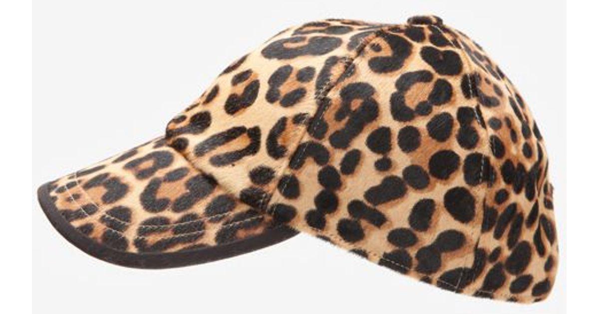 Lyst - Hat Attack Cheetah Print Haircalf Baseball Cap 772dfaa8d3e