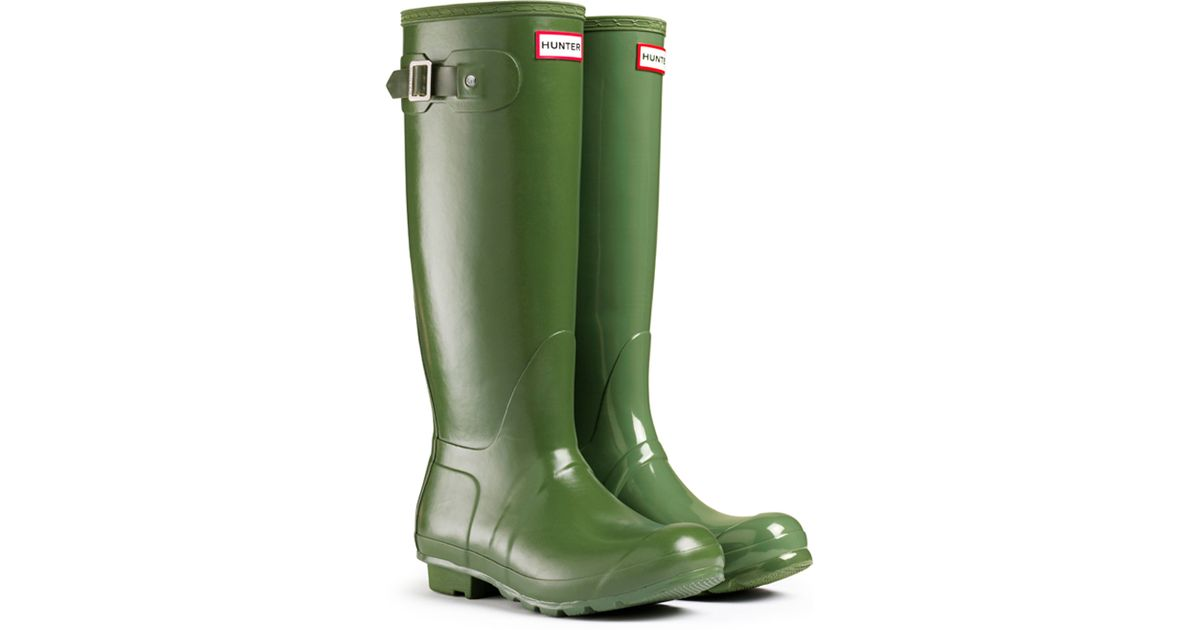 Hunter Original Tall Leather Lined Rain Boots In Vintage