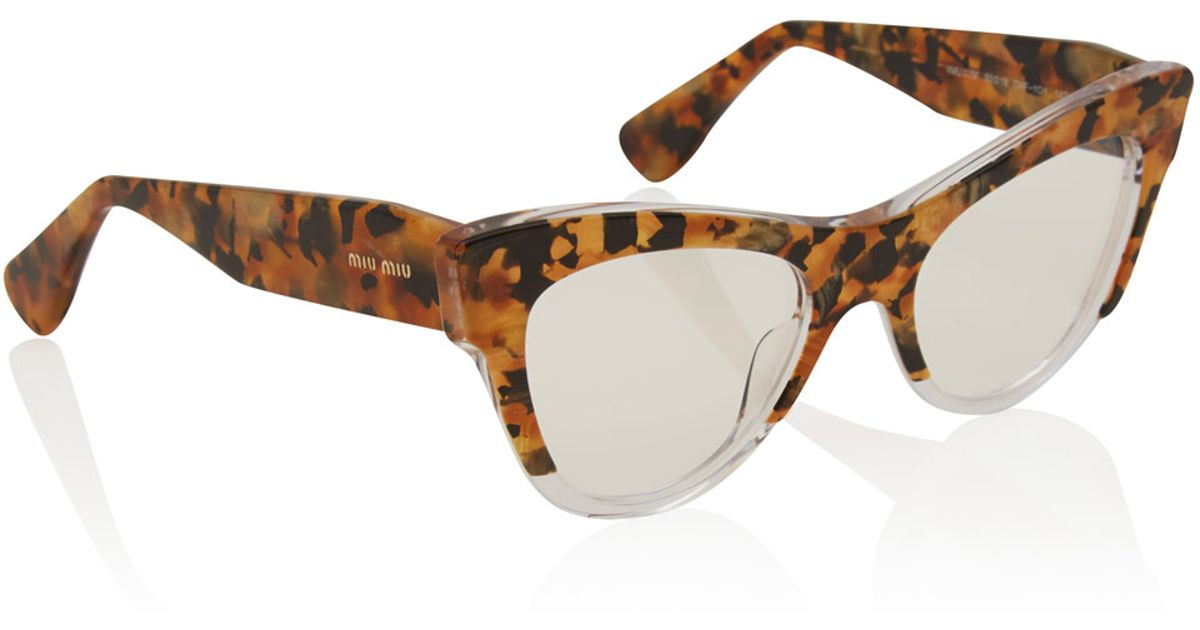 d2b0e2ec4812f Miu Miu Brown Camouflage Cat Eye Glasses Eyewear by Miu Miu