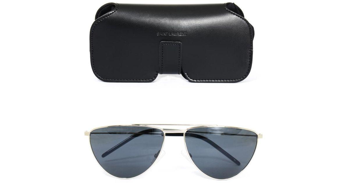 Lyst - Saint Laurent Slim D-Frame Sunglasses in Metallic for Men