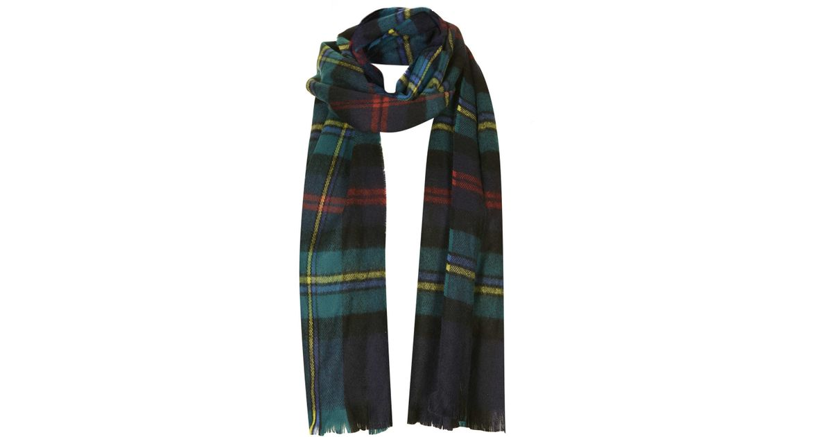 a224f08e0 TOPSHOP Traditional Check Scarf in Blue - Lyst