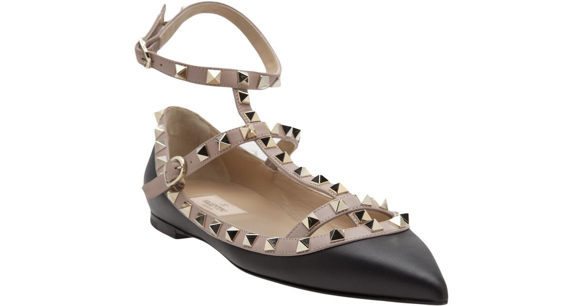 089c13834 Valentino Rockstud Ballerina Flat in Black - Lyst