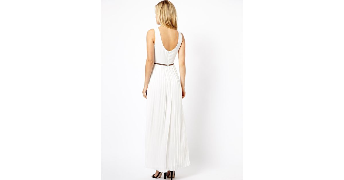 Lyst - Asos Grecian Style Maxi Dress in Natural