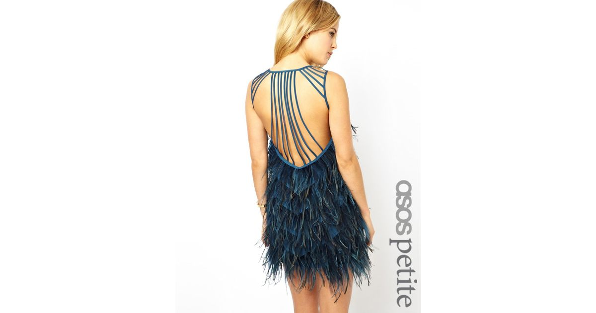 Asos Exclusive Premium Feather Strappy Back Dress In Black