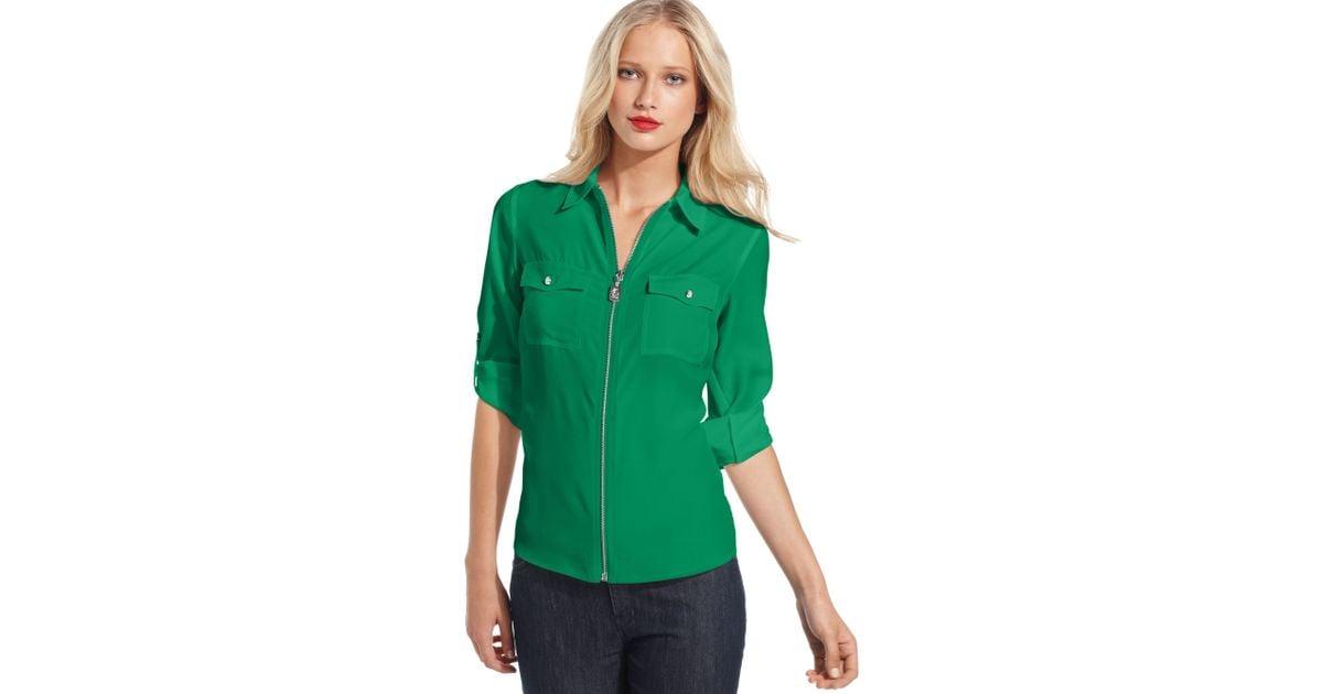b46057b0848 Michael Kors Green Long Sleeve Zip Front Shirt