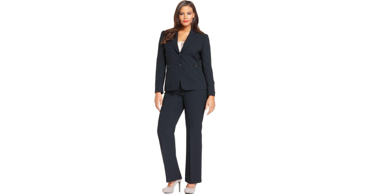 Tahari Blue Plus Size Two Button Pinstripe Pant Suit