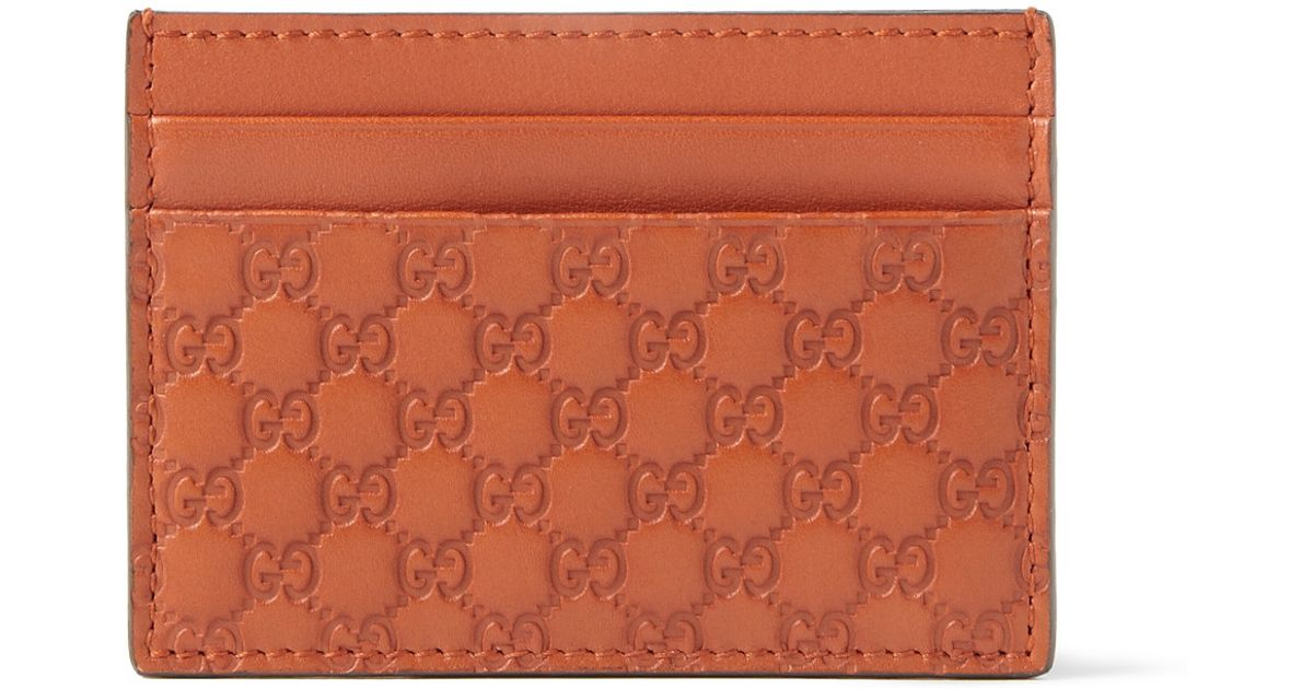0717958f2d349d Gucci Embossed Leather Card Holder in Brown for Men - Lyst