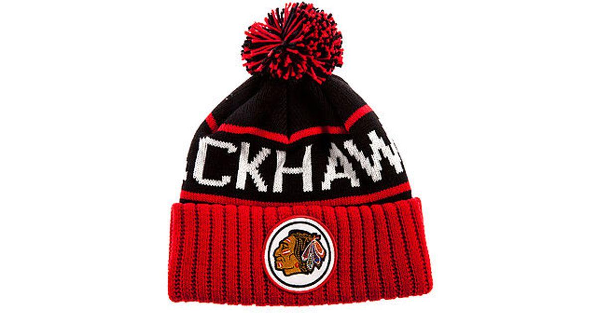 7d56d77ec9e Lyst - Mitchell   Ness The Chicago Blackhawks High 5 Beanie in Black for Men