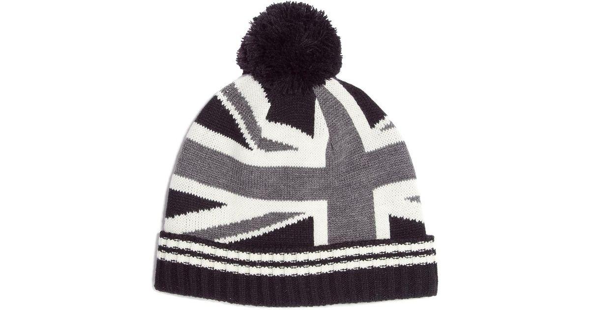 c9648c3ee ASOS Black Bobble Beanie Hat with Union Jack for men