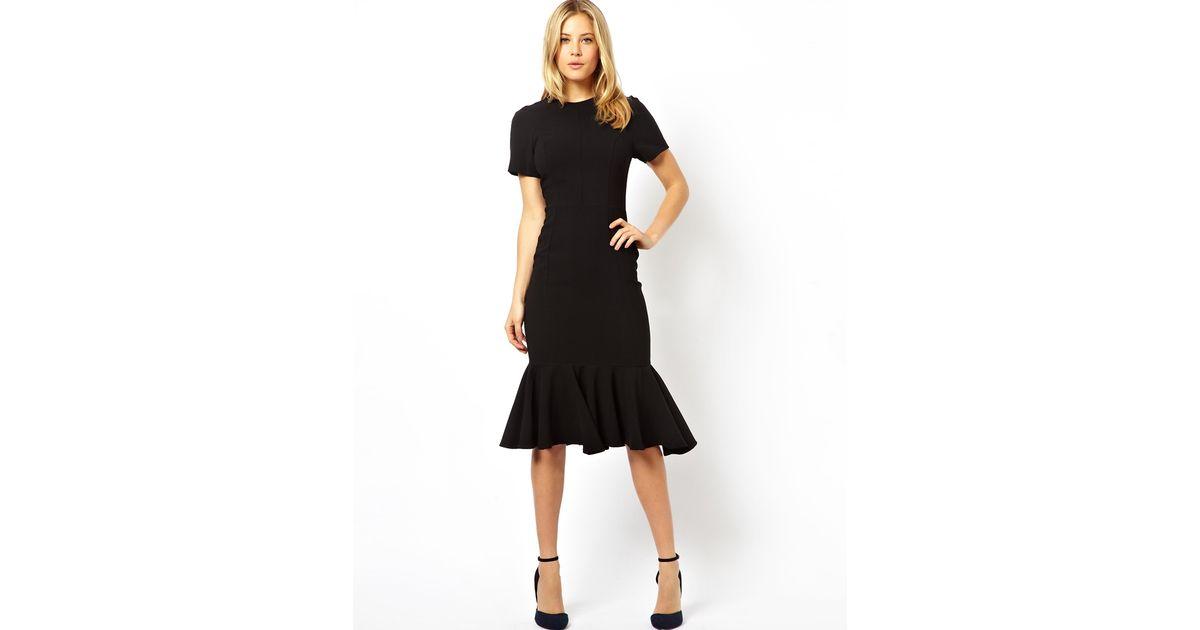 3b5fdc3ba889 Black Midi Dress With Peplum Bottom – Little Black Dress   Black ...