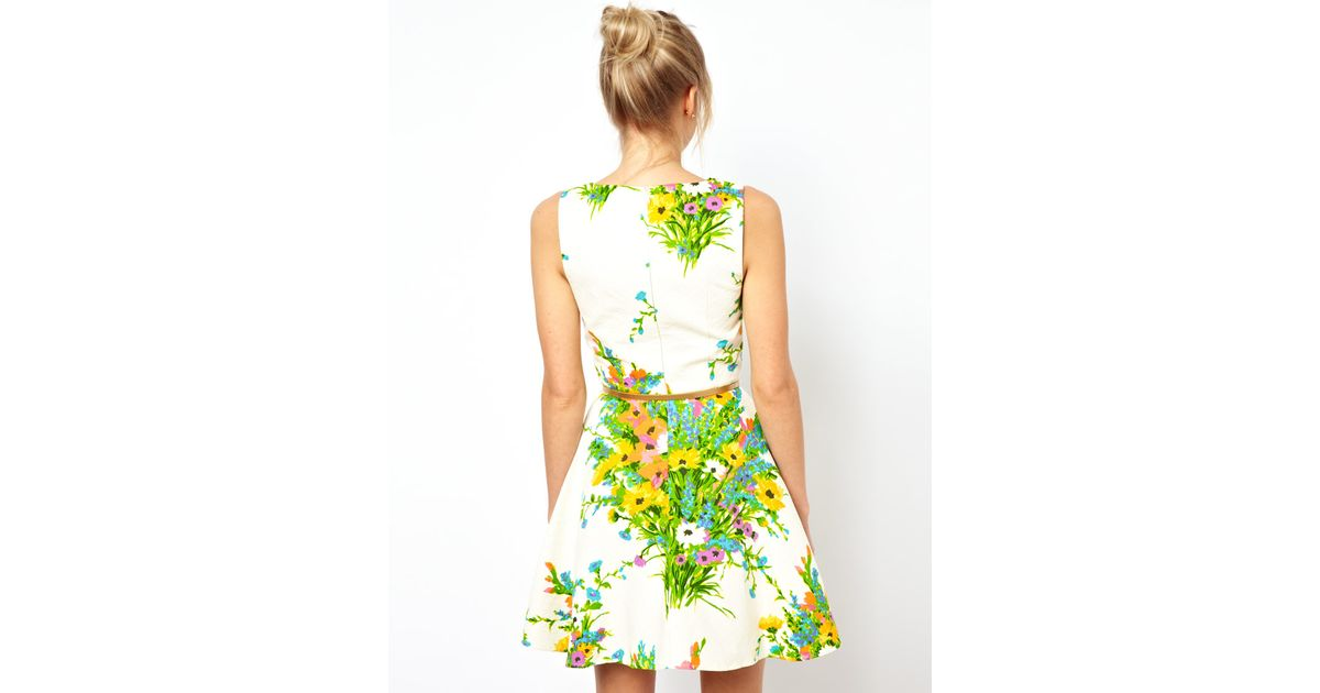 Asos Oasis Floral Fit And Flare Dress In White Lyst