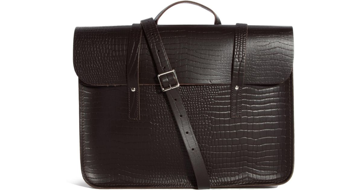 Lyst Cambridge Satchel Company The 155 Leather Croc Music Bag In Brown For Men