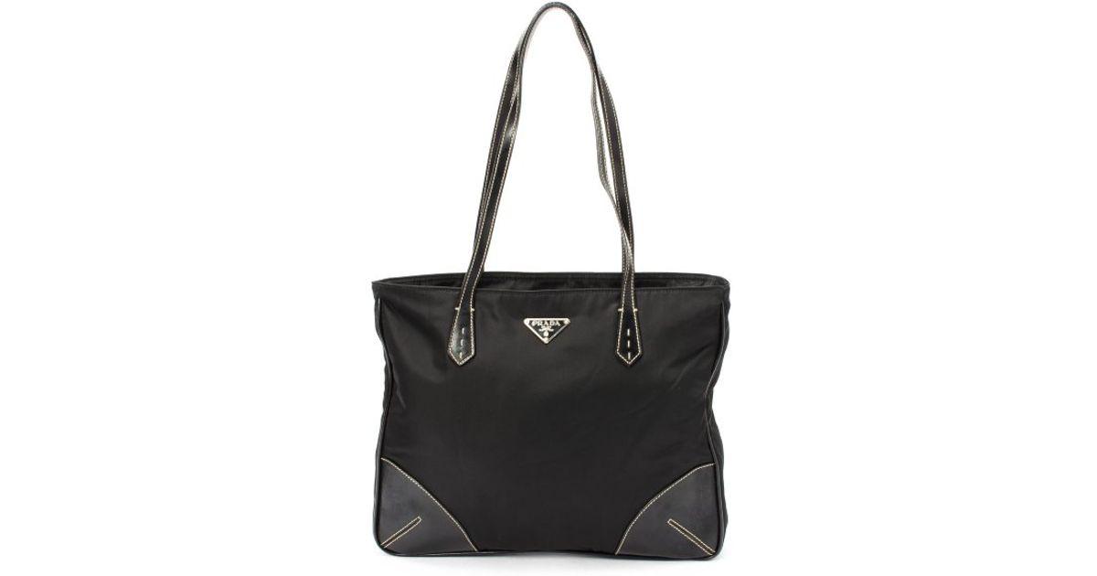 900b23a6950a Prada - Preowned Black Leather Trim Nylon Shopper Tote - Lyst