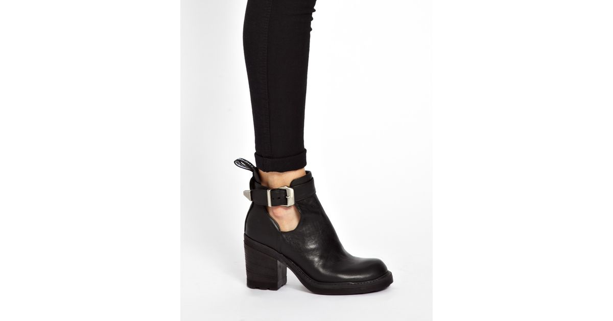 062fe3a5ec30 Asos Bronx Heeled Strap Ankle Boots in Black - Lyst