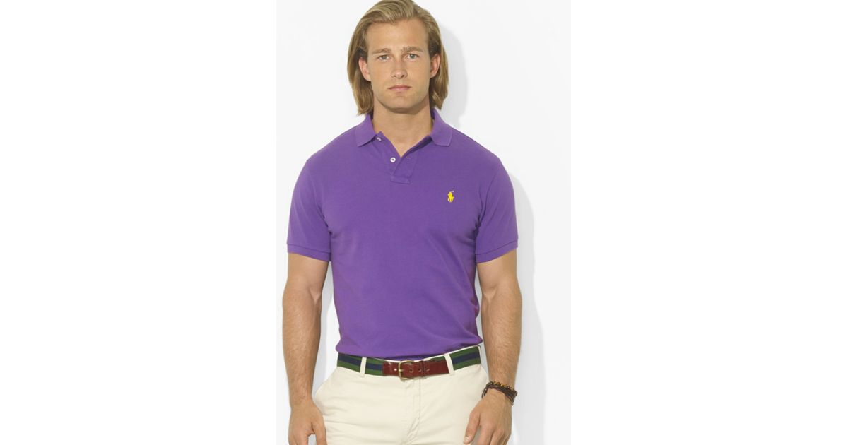 Ralph lauren Polo Custom-fit Short Sleeved Cotton Mesh Polo in Purple for Men | Lyst