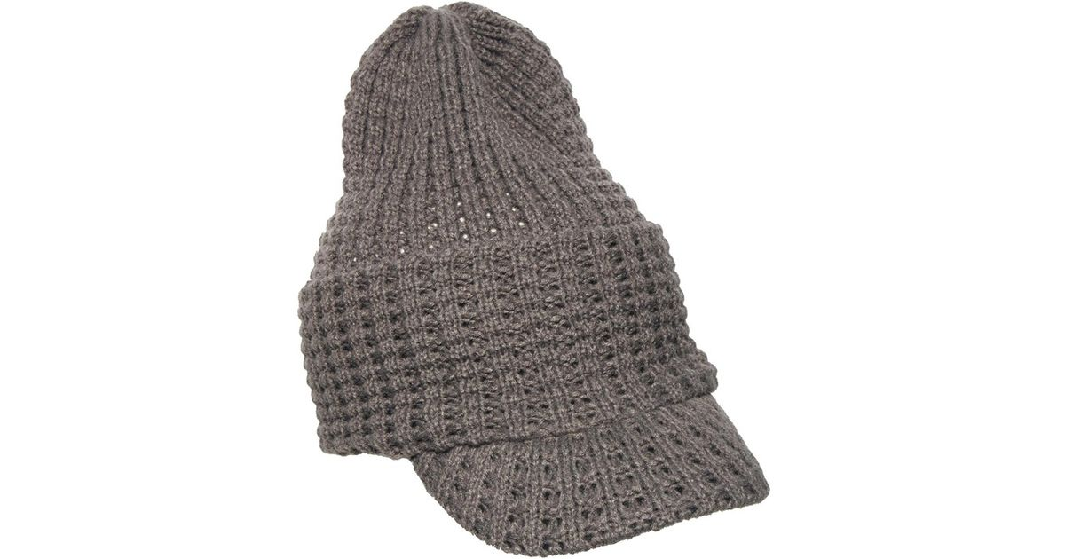 Lyst - ASOS Peaked Beanie Hat in Waffle Stitch in Gray for Men 42c061c24385