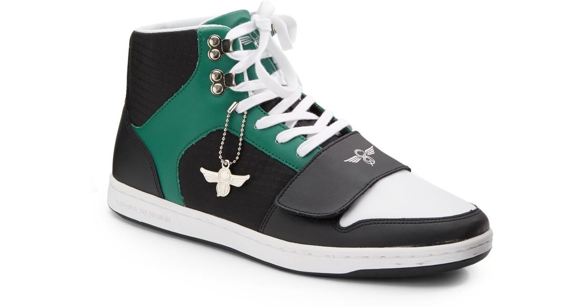 Leather and Woven Hightop Sneakers