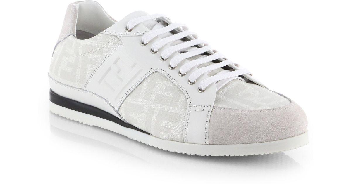 Fendi Zucca Laceup Sneakers in White