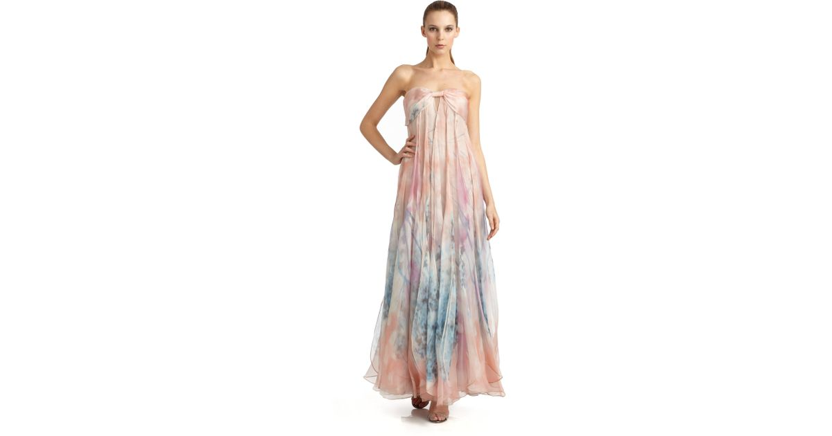 Lyst - Giorgio Armani Watercolor Floral Print Silk Strapless Evening ...