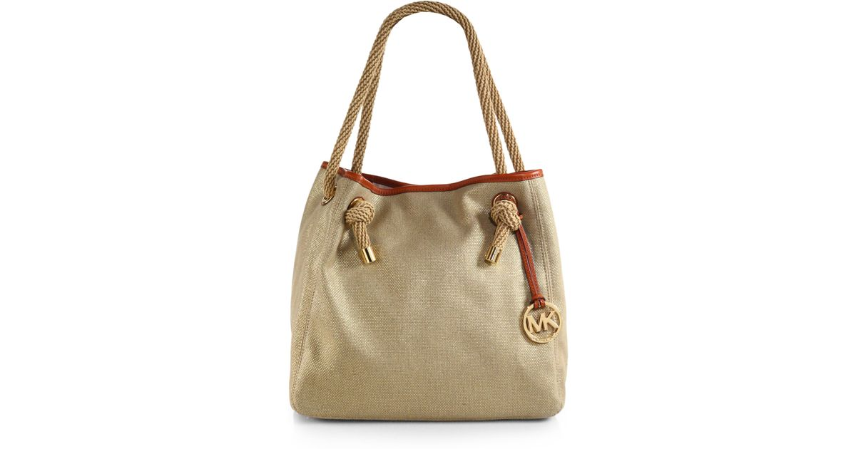 36cd3cb7f595 MICHAEL Michael Kors Marina Crab Canvas Tote Bag in Metallic - Lyst