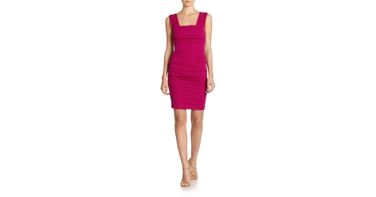 e8729d4f Lyst - Nicole Miller Gathered Jersey Square Neck Dress in Purple