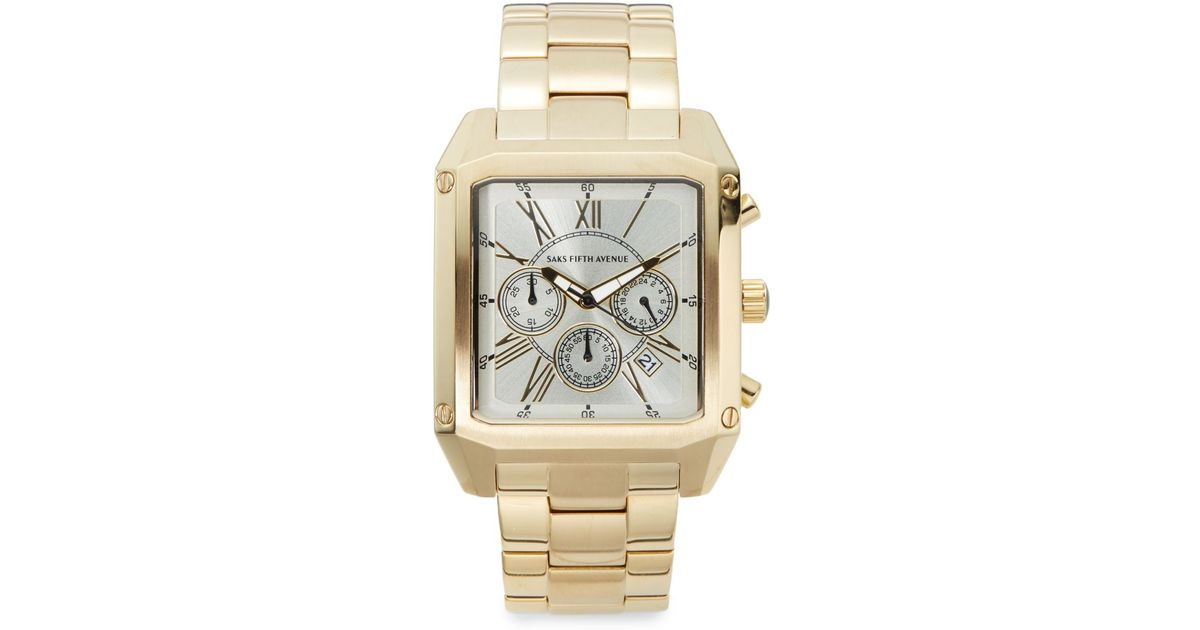 9d2cbe96b2b Lyst - Saks Fifth Avenue Goldtone Stainless Steel Chronograph Link Watch in  Metallic for Men