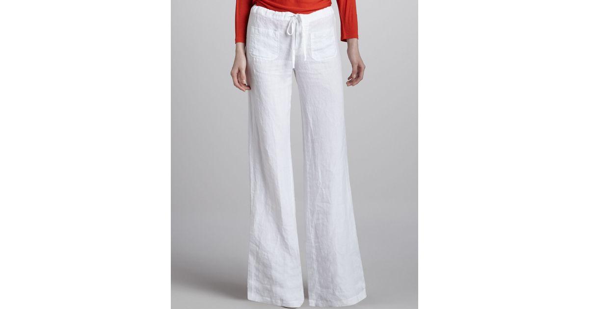 Vince Linen Draw String Beach Pants In Beige White Lyst