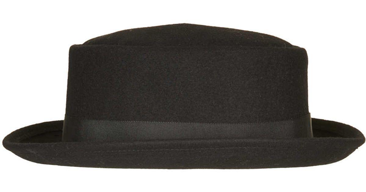 Lyst - TOPSHOP Rolled Edge Flat Top Hat in Black 1db5c4b75a9
