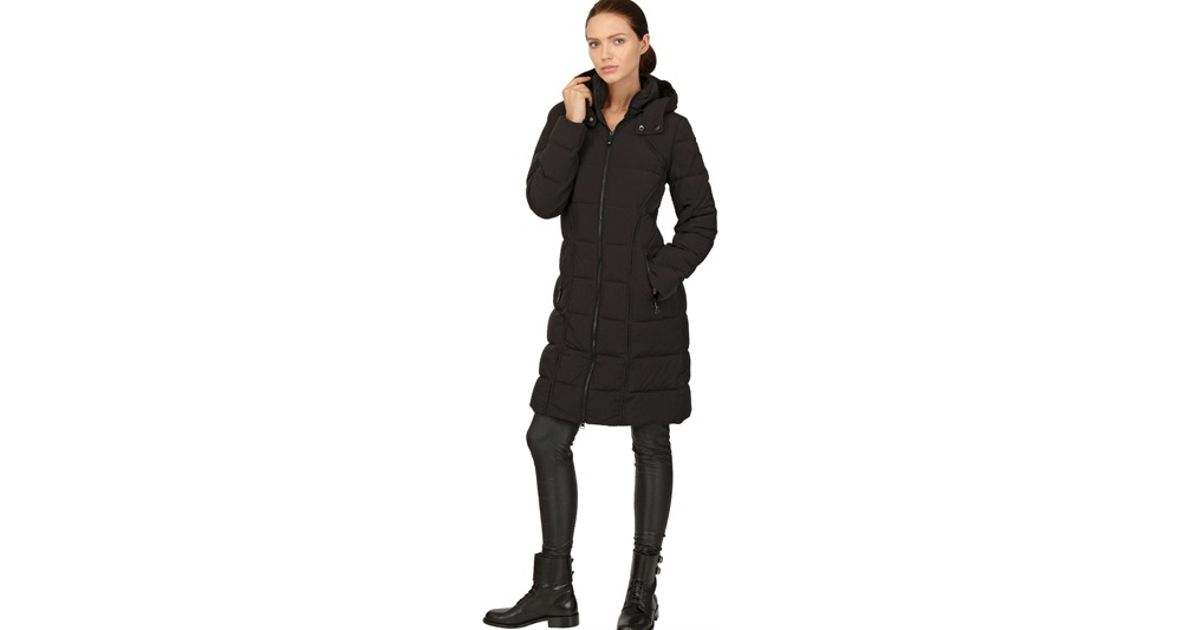 a678d7cb1893 Lyst - Add Hooded Long Down Jacket in Black
