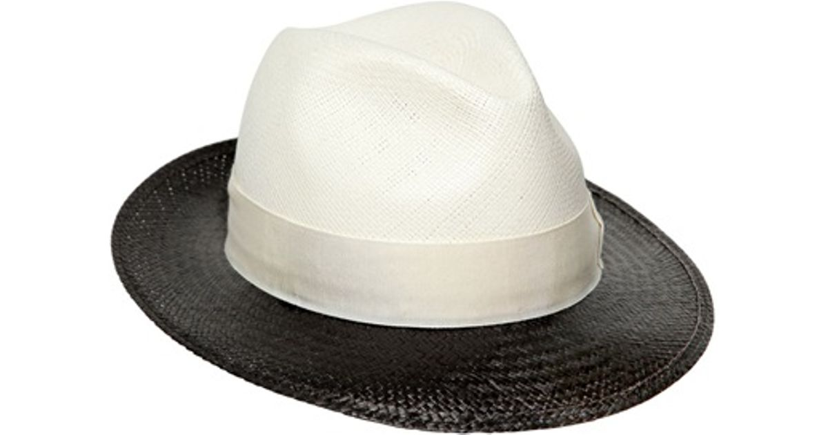 2177232959d1b0 Borsalino Two Tone Straw Panama Hat in Black - Lyst