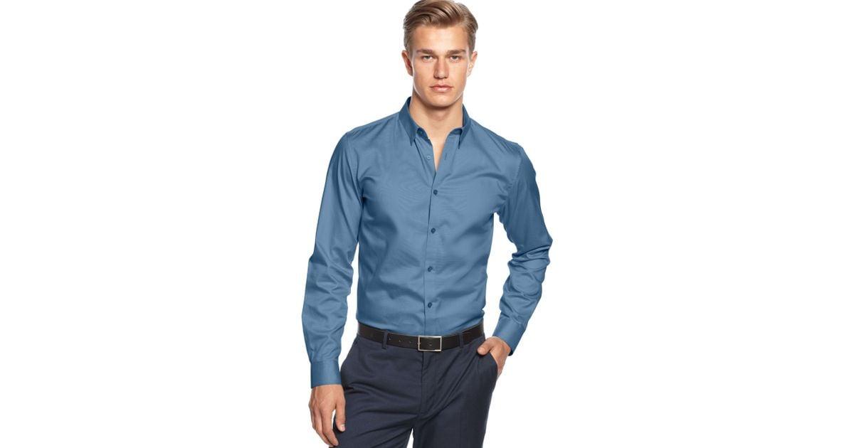 74de2adf183 Lyst - Calvin Klein Long Sleeve Solid Slim Fit Shirt in Blue for Men