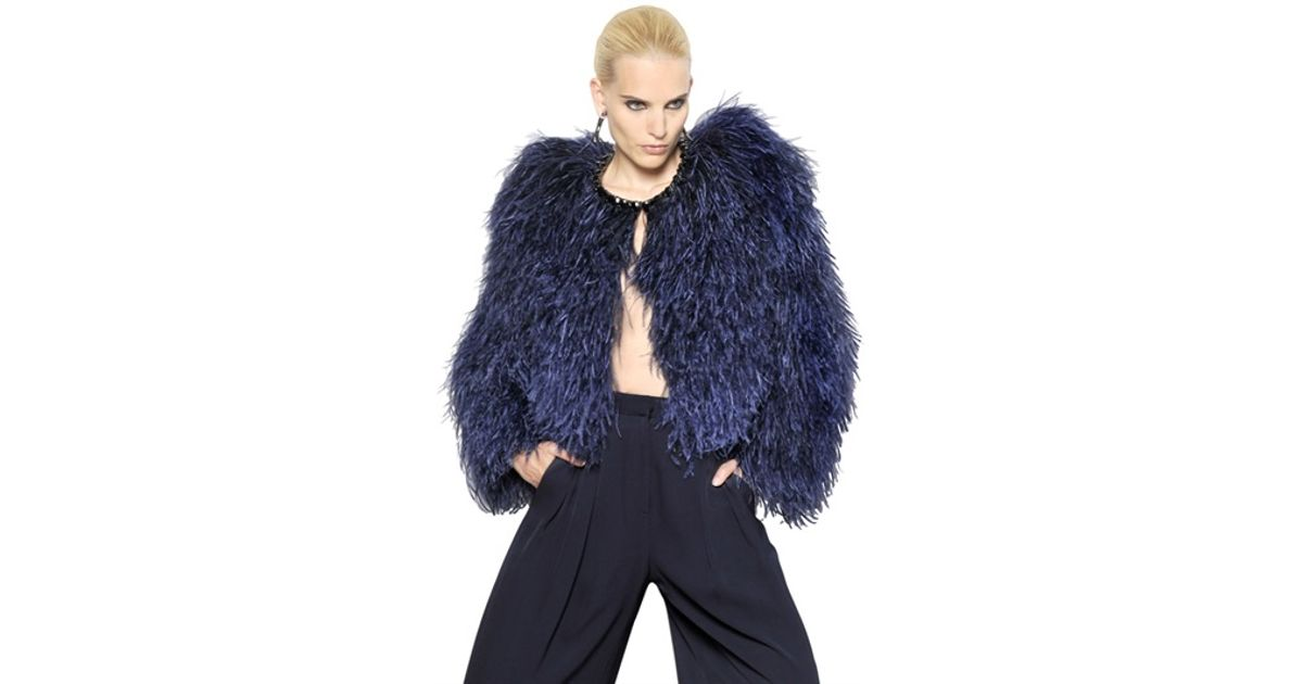 ac34ecb831d Givenchy Jewelled Ostrich Feather Fur Jacket in Blue - Lyst