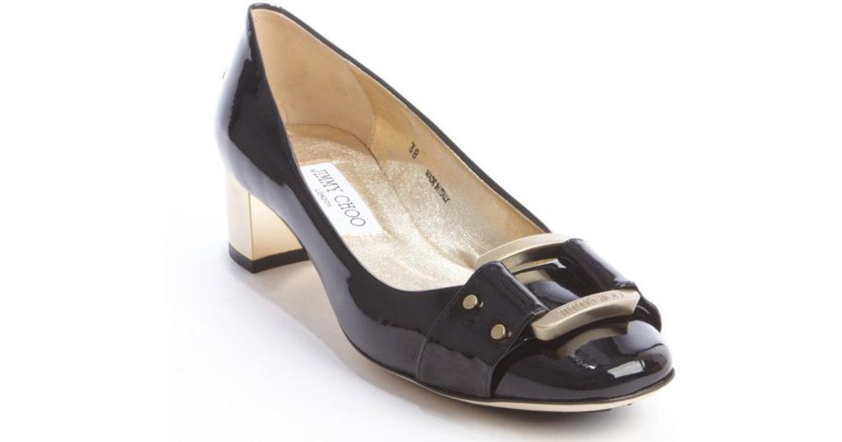 Jimmy choo Black Patent Leather Moore Gold Block Heel Pump in ...