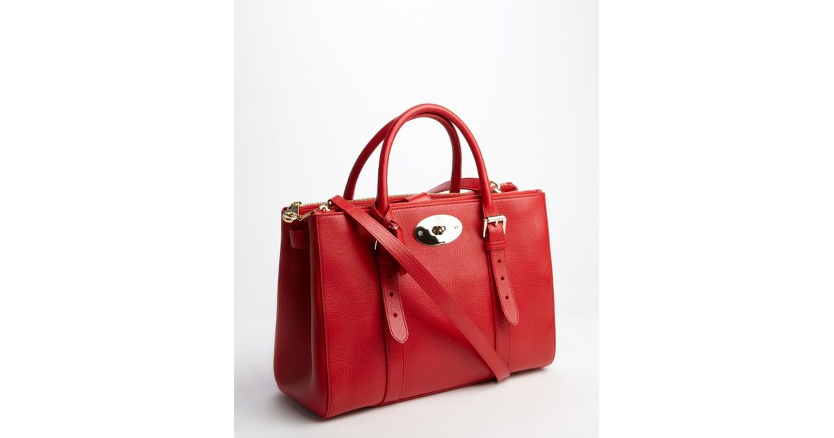 d38182579c6 ... inexpensive lyst mulberry red leather bayswater double zip convertible  tote in red 29664 cfad5