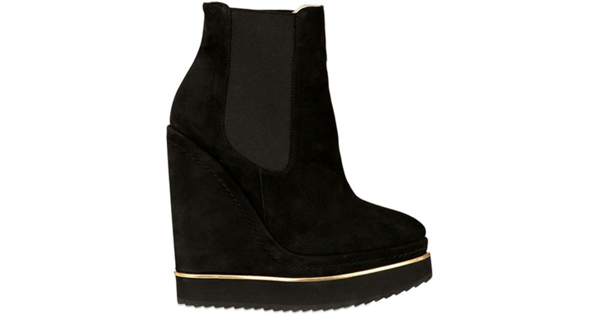 d41686062f6 Lyst - Paloma Barceló 140mm Suede Boot Wedges in Black