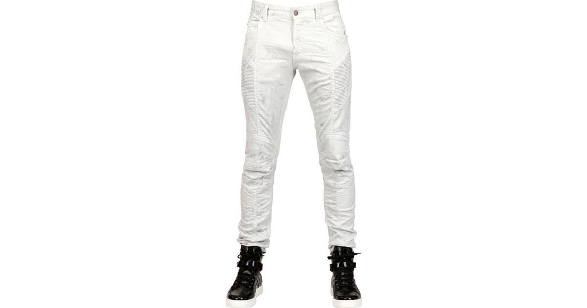 59a300ec1 Balmain Stone Washed Denim Biker Jeans in White for Men - Lyst